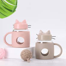 Manufacturer Wholesale Transparent Creative Kitten Glass Cup Fashion Transparent and Heat-Resistant Daily Use Department Store Water Cup Custom Logo
