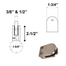 Stainless Steel Balcony Square Glass Railing Clamp  Bathroom Door Accessories