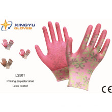 Druck Polyestershell Latex beschichtetes Crinkle Finish Sicherheits-Arbeitshandschuh (L2501)
