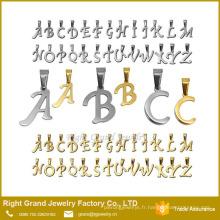 Pendentif Plaqué Or Argent Charms Nom Lettres AZ Alphabet en Acier Inoxydable pour Collier Pendentif