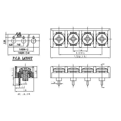 AT806-7.62XXX-01 Barrier Terminal Block Pitch7.62mm