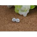Brinco de cristal minúsculo do parafuso prisioneiro da prata esterlina 925