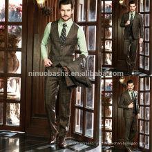 Профессиональный дизайн мужские деловые костюмы 2014 Новый Свадебный костюм коричневый проверить мужская высокое качество NB0566