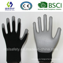 18g Black Nylon with Gary PU Coating Safety Gloves