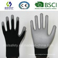 18g Black Nylon with Gary PU Coating Safety Gloves