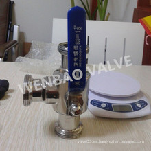 """Válvula de bola sanitaria de tres vías 11/2 """"con manija manual"""