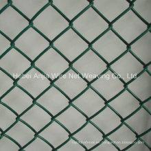 PVC recubierto galvanizado cadena de enlace de valla / malla de alambre de enlace de cadena