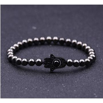 Newest Design Evil Eye Hematite 6MM Round Beads Bracelet For Men