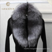 Hotsale high quality with detachable real silver fox fur collar luxury