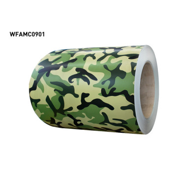 Camouflage pattern coated aluminium coil