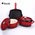 Enamel cookware Set of 3-Casserole, grill pan