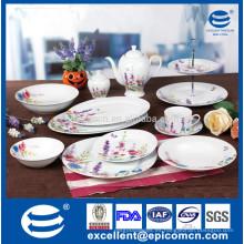 Caja de color embalaje rosa y flor de color púrpura decorado 45pcs cena excelente porcelana conjunto
