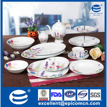 color box packing pink and purple color flower decorated 45pcs excellent porcelain dinner set