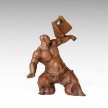 Östliche Statue Akrobatismus Dorf Leben Bronze Skulptur Tple-025