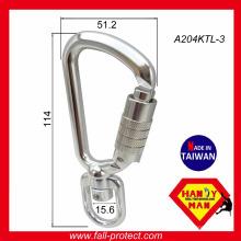 A204KTL-3 Outil Tether Swivel en aluminium 8kN Safety Hook Mousqueton