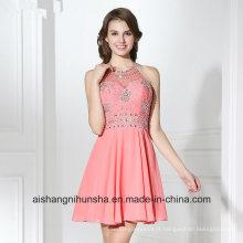 Halter Backless Zipper Chiffon Lantejoulas Cristal Prom Dress