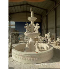 Large Size White Marble Cherb and Horse Water Fountain