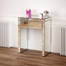 Coiffeuse compacte avec miroir vénitien avec miroir et tabouret blanc
