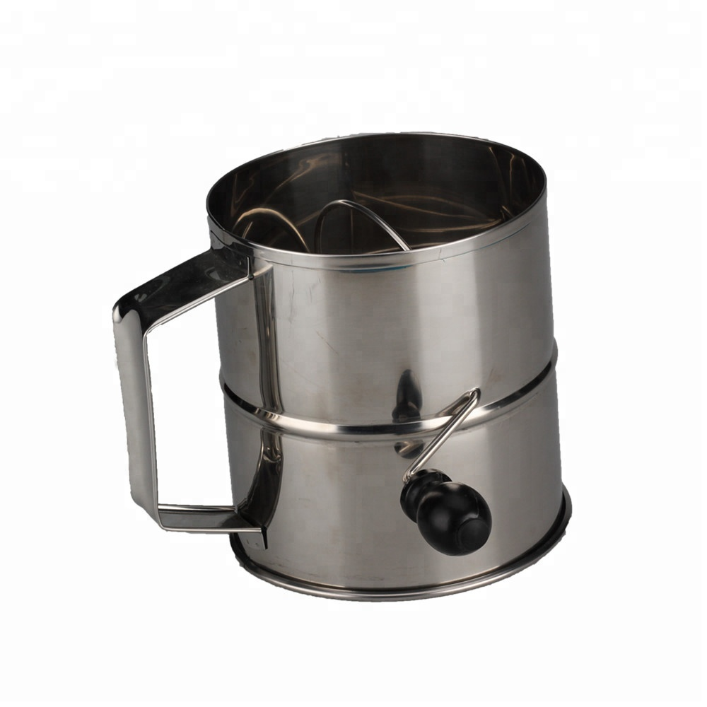 Stainless Steel Rotary Hand Crank Flour Sifter