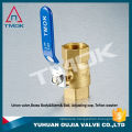 3/4 inch brass ball valve TK-207 with PTFE seated with forged Iron handle chrome plated with blue PVC cover in TMOK