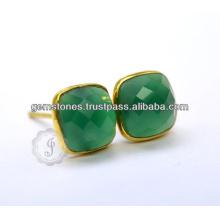 Gold überzogener grüner Onyx Edelstein-Ohrring Vermeil Edelstein-Bezel-Ohrring-Lieferant