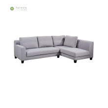 Light Grey Fabric Woon Legs Corner Sofa