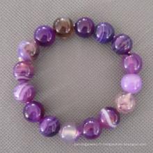 Bracelet rond en agate violet, bracelet élastique (BP134)