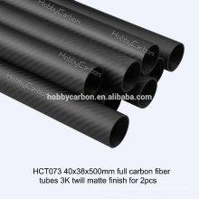 Tube ovale rond de haute qualité de tube / tuyau de fibre de carbone