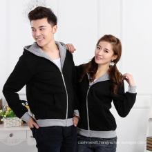 Plus velvet thick couple zipper hoodie