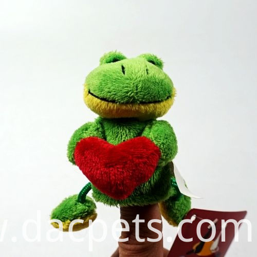 frog with red heart finger puppet