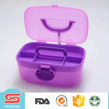 Portable tool box empty plastic storage container with handle