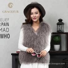 Delicate texture woman real mongolian fur vest