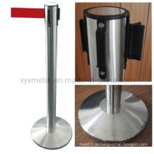 Plano de acero inoxidable o base de cono Control de muchedumbre Barreras retráctiles del cinturón
