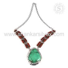 Gorgeous coral e turquesa gemstone colar de prata atacado 925 jóias de prata esterlina jóias indianas