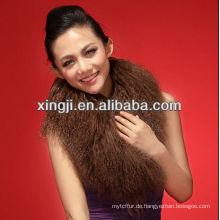 gefärbter brauner mongolischer Schafpelzkragen