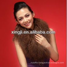 dyed brown color mongolian sheep fur collar