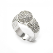 Silver Dome Pinky Ring Micro Pave Setting