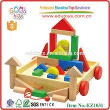 Handmade Safe Preschool Kids Toys Wooden Blocks Cart