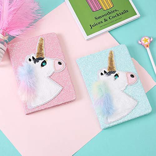 Unicorn Fluffy Sequins Notebook 1