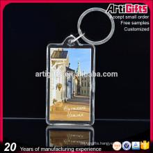 Promotional gift blank transparent rectangular plastic acrylic keychain