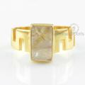 Anillo de oro de la piedra preciosa del rutilo del diseñador, surtidor al por mayor para la joyería del anillo de oro de la piedra