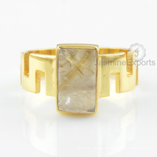 Designer Golden Rutile Gemstone Ring, Wholesale Supplier For Gemstone Gold Ring Jewelry