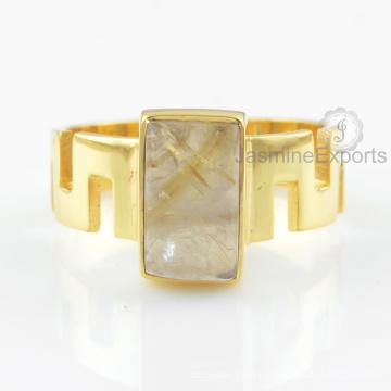Designer Golden Rutile Gemstone Ring, Wholesale Supplier For Gemstone Gold Ring Jewelry