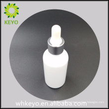 30ml white essential oil glass bottle with silver cap and white rubber dropper