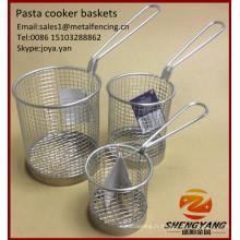Maille fine speghetti paniers restaurant pasta chips paniers de service en acier inoxydable ronde paniers de cuiseur à pâtes