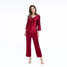Pijama de seda conjunto de duas peças 3/4 manga comprida Pijamas