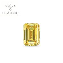 ForeverFlame fancy yellow 3ct 7mm*10mm vvs Emerald Cut diamond CVD CZ Moissanite engagement ring