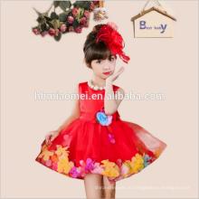 Модных элегантный горячая Распродажа 2017 Одежда для девочек искусственный цветок кружева Паффи платье для девочек