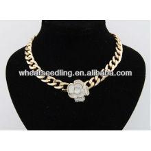 Bargin prix exagéré choker rose forme en or plaqué pendentif collier en gros collier lariat