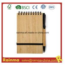 A6 Espiral Bamboo Notebook con Eco Pen